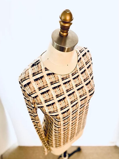 Beige/Black plaid printed Jersey top Size-1, 3