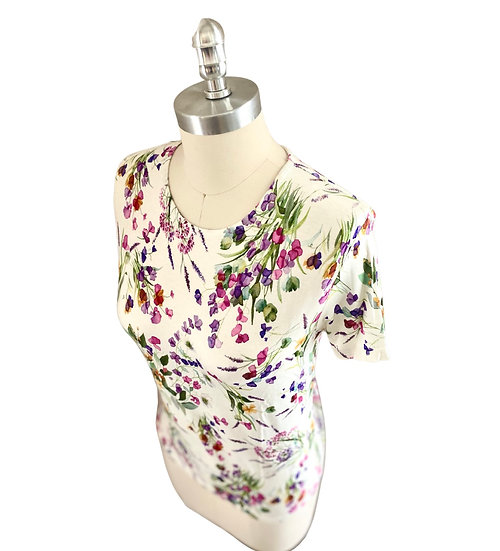 White/Tiny Flower Print  S/S Jersey Top 1, 2