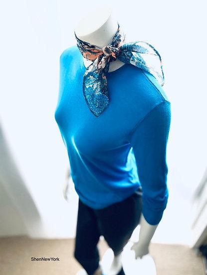Silk/Cotton Crew Turquoise 0, 1, 2, 3