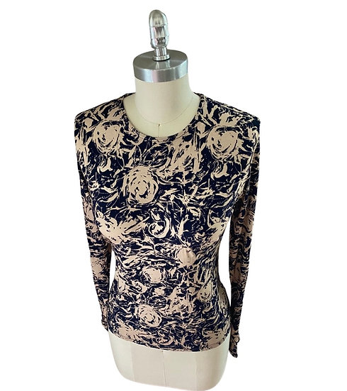 Charcoal Beige Rose Print Jersey Top 0, 1, 3