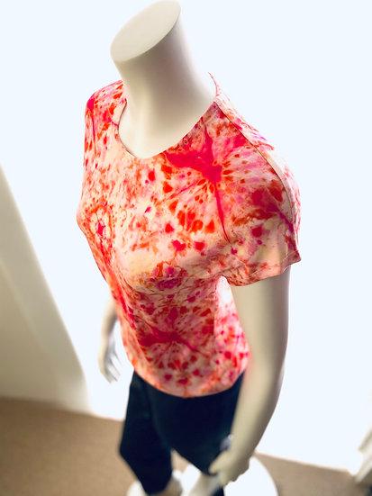 Pink Tie Dye Print Cap Sleeves 0, 1
