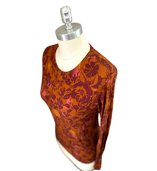 Rust/Wine Floral Jersey Top 3