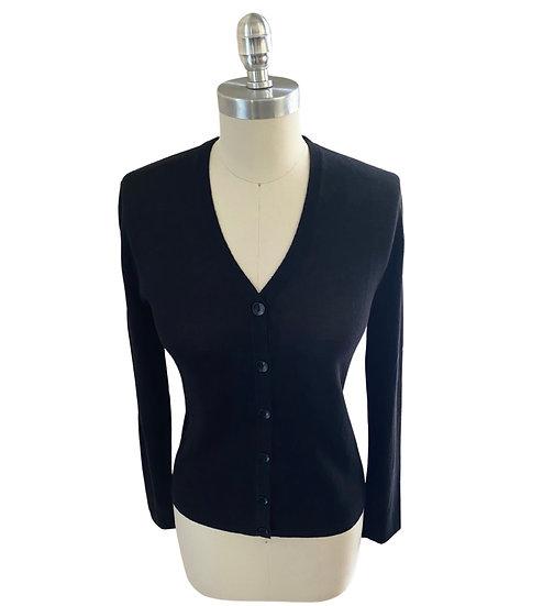 Super Fine Silk/Cotton Cardigan Black