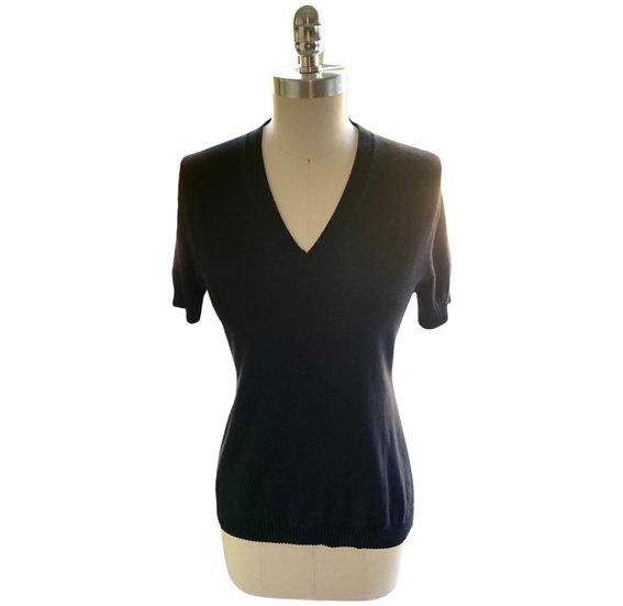 Cotton Knit Ribbed Bottom V Neck Top Black 1