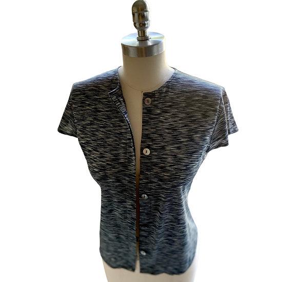 Super Fine Cotton Knit Button Front Shirt Black Size-1