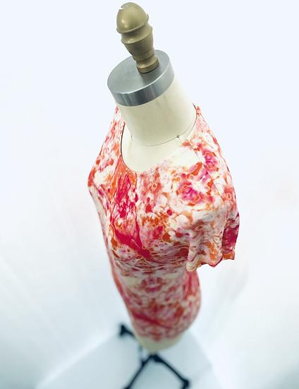 Pink/Orange Tie Dye Print Cap Sleeves 0, 1