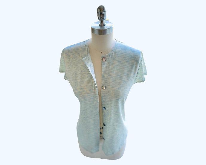 Super Fine Cotton Knit Button Front Shirt Mint Size-1