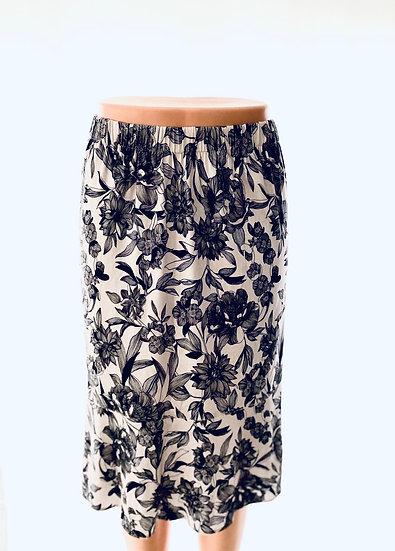 Cream/Charcoal Leaf Skirt Size-1