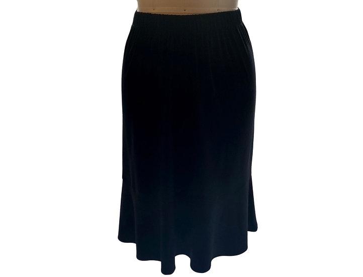 Black Rayon Matte Jersey Skirt Size-1