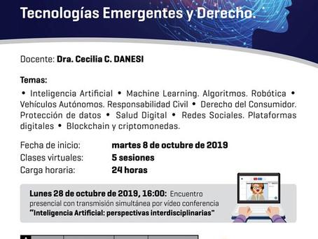"""Curso virtual: """"Inteligencia Artificial, Tecnologías Emergentes y Derecho"""""""
