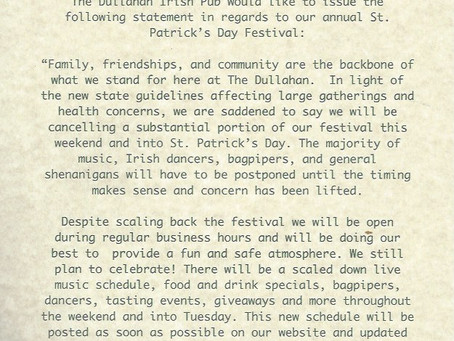 Saint Patrick's Day- Official Statement