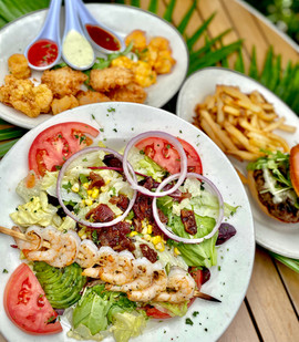 rumba salad with shrimp trio and butcher