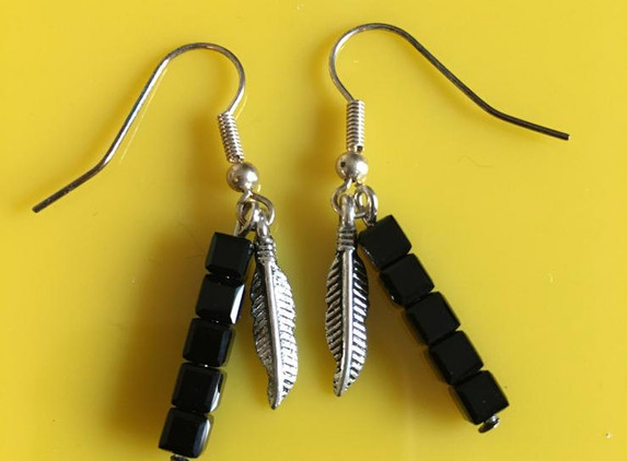 black-cube-crystal-and-silver-feather-earrings