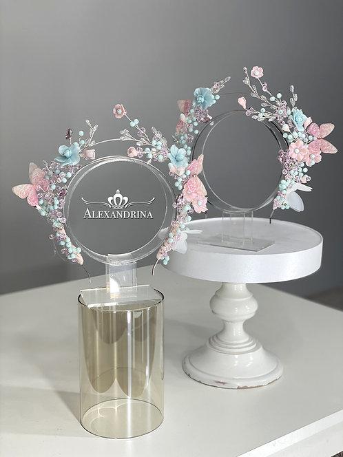 HeadBand Butterfly&Flowers Pink/Blue