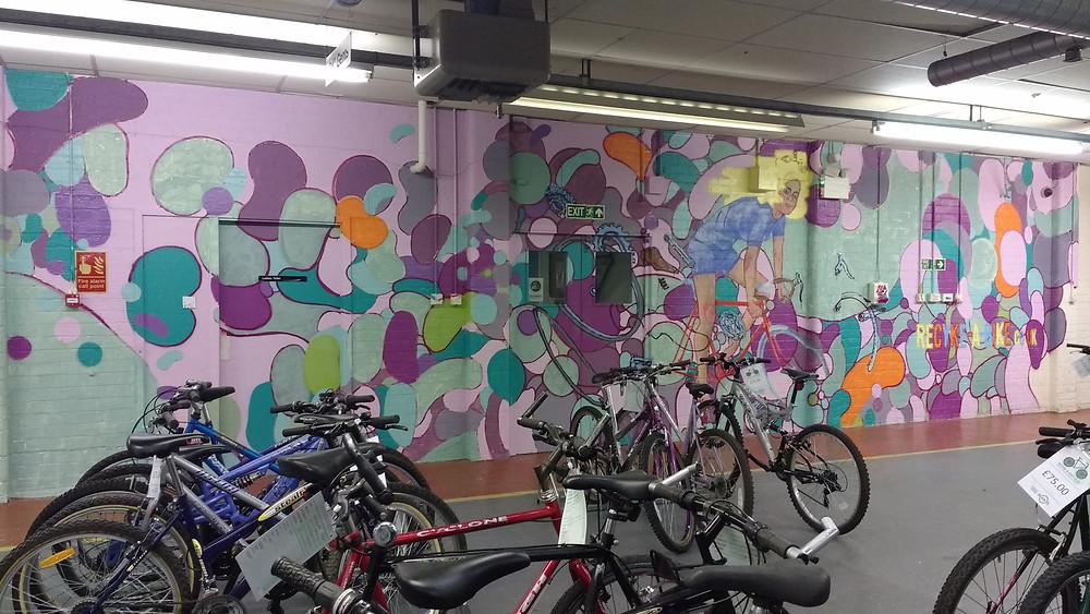 Graffiti art on our shop wall - still in progress