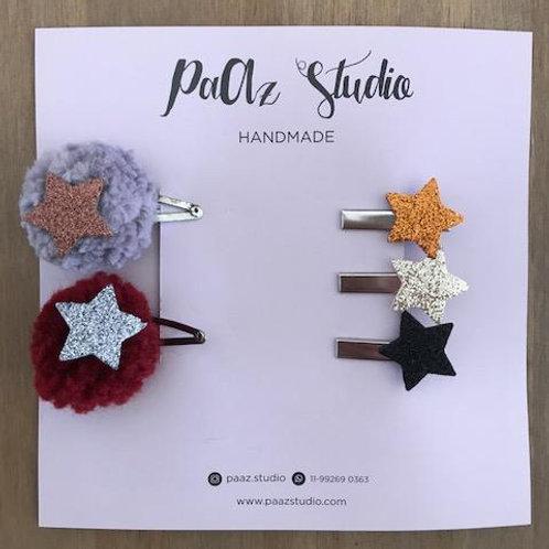 Kit de presilhas estrelas para bebê