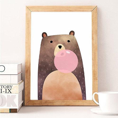 Pôster bichinhos fofos urso