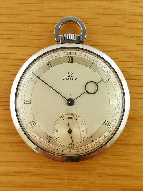 1940s Omega Stainless Steel Pocket Watch