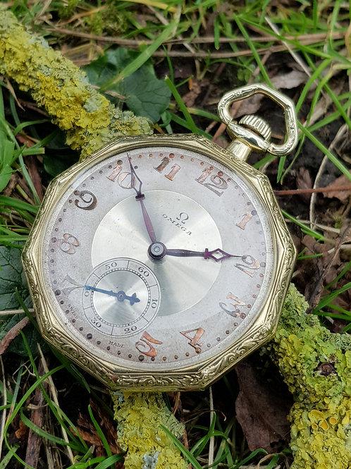 1919 Omega Art Nouveau Gold Pocket Watch