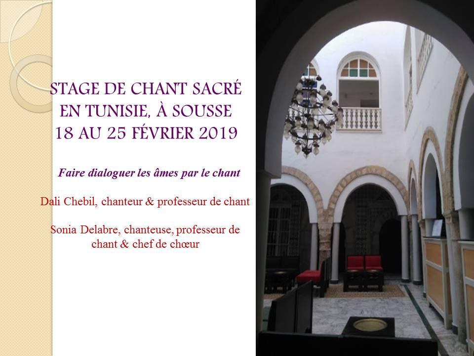 Stage de chant sacré en Tunisie à Sousse 18 au 25 Février 2019