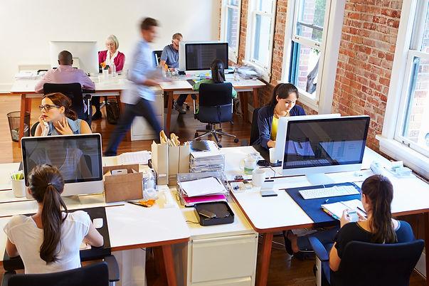 אנשים בחדר עבודה עם מחשבים
