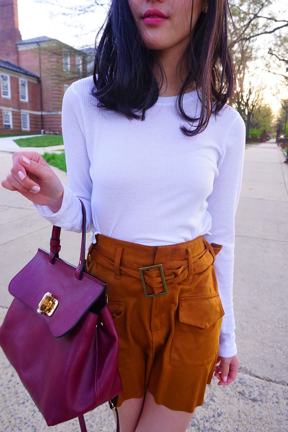 Close up of Mel's outfit at University of Maryland