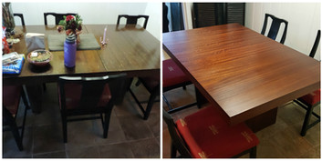 Table before and after