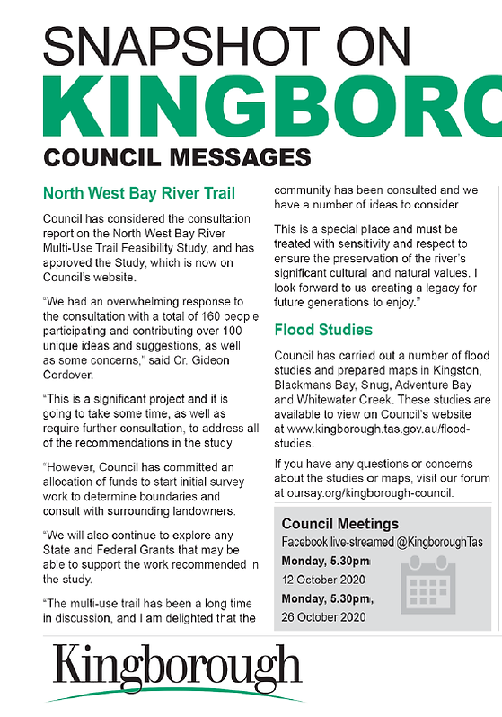 Kingborough Chronicle NW Bay River 6oct2