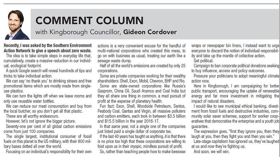 19nov19 Kingborough Chronicle pg 2 Comme