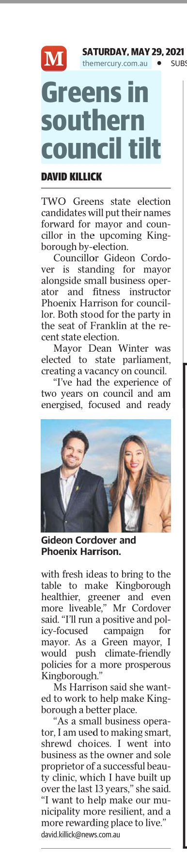Mercury article by election mayor launch