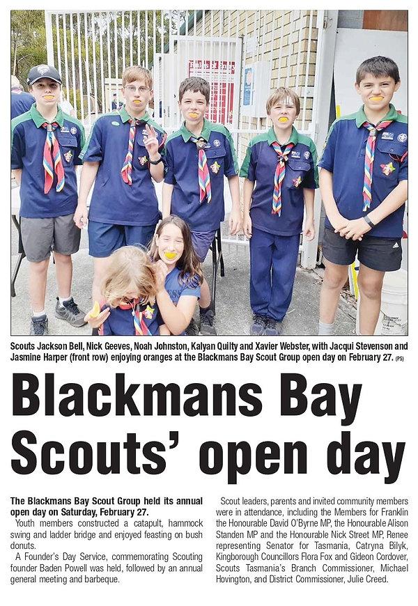 Blackmans Bay Scouts 22feb21 Gideon for
