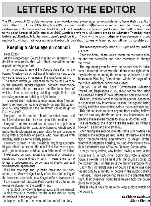letter to editor 28jan20 kingston park r
