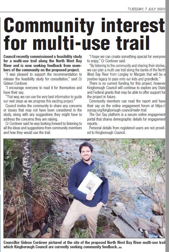NW Bay River Kingborough Chronicle 7 Jul