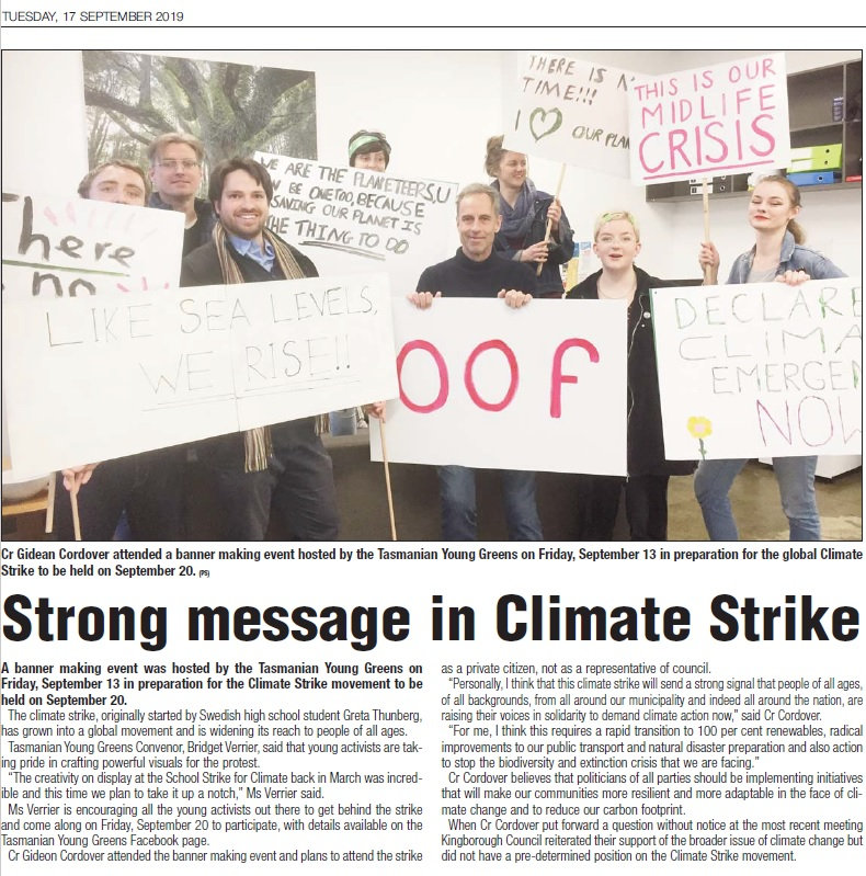 Climate Strike Kingborough Chronicle 17s