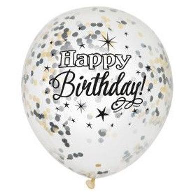 "Balloon Latex 12"" Confetti Black Clear Happy Birthday 6C"