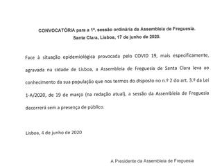 Convocatória para a 1ª Sessão Ordinária da Assembleia de Freguesia - Informação à População