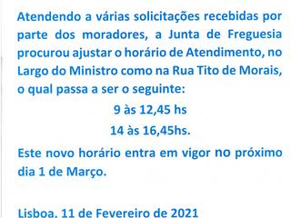 INFORMAÇÃO À POPULAÇÃO - NOVO HORÁRIO DE ATENDIMENTO DA JUNTA DE FREGUESIA DE SANTA CLARA