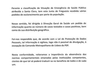 Comunicação à População - Situação na Freguesia de Santa Clara (COVID-19)
