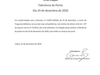 INFORMAÇÃO À POPULAÇÃO - TOLERÂNCIA DE PONTO - 24 DE DEZEMBRO DE 2020