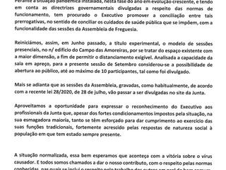 INFORMAÇÃO - ASSEMBLEIA DE FREGUESIA DE 24 DE SETEMBRO DE 2020