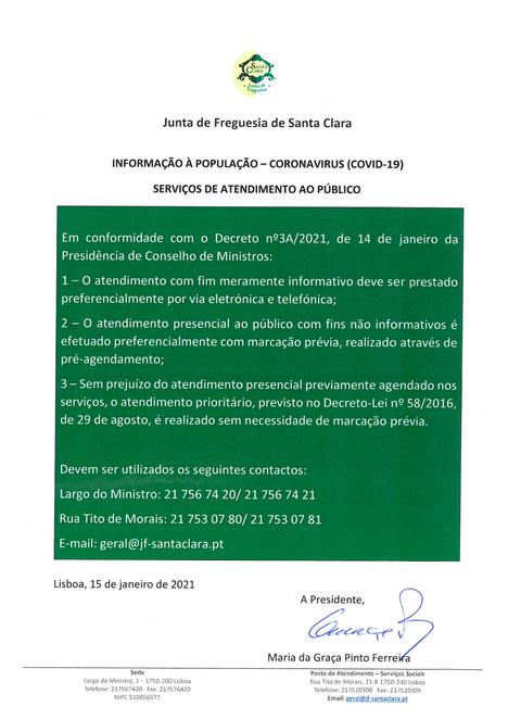 INFORMAÇÃO À POPULAÇÃO - CORONAVÍRUS (COVID-19) - SERVIÇOS DE ATENDIMENTO AO PÚBLICO