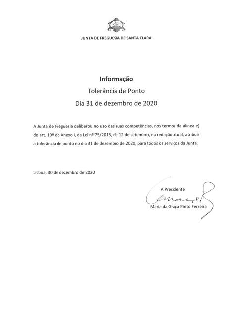 INFORMAÇÃO À POPULAÇÃO - TOLERÂNCIA DE PONTO NO DIA 31 DE DEZEMBRO DE 2020 NOS SERVIÇOS DA JUNTA DE
