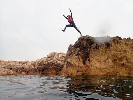 Jumping for joy in Algarve