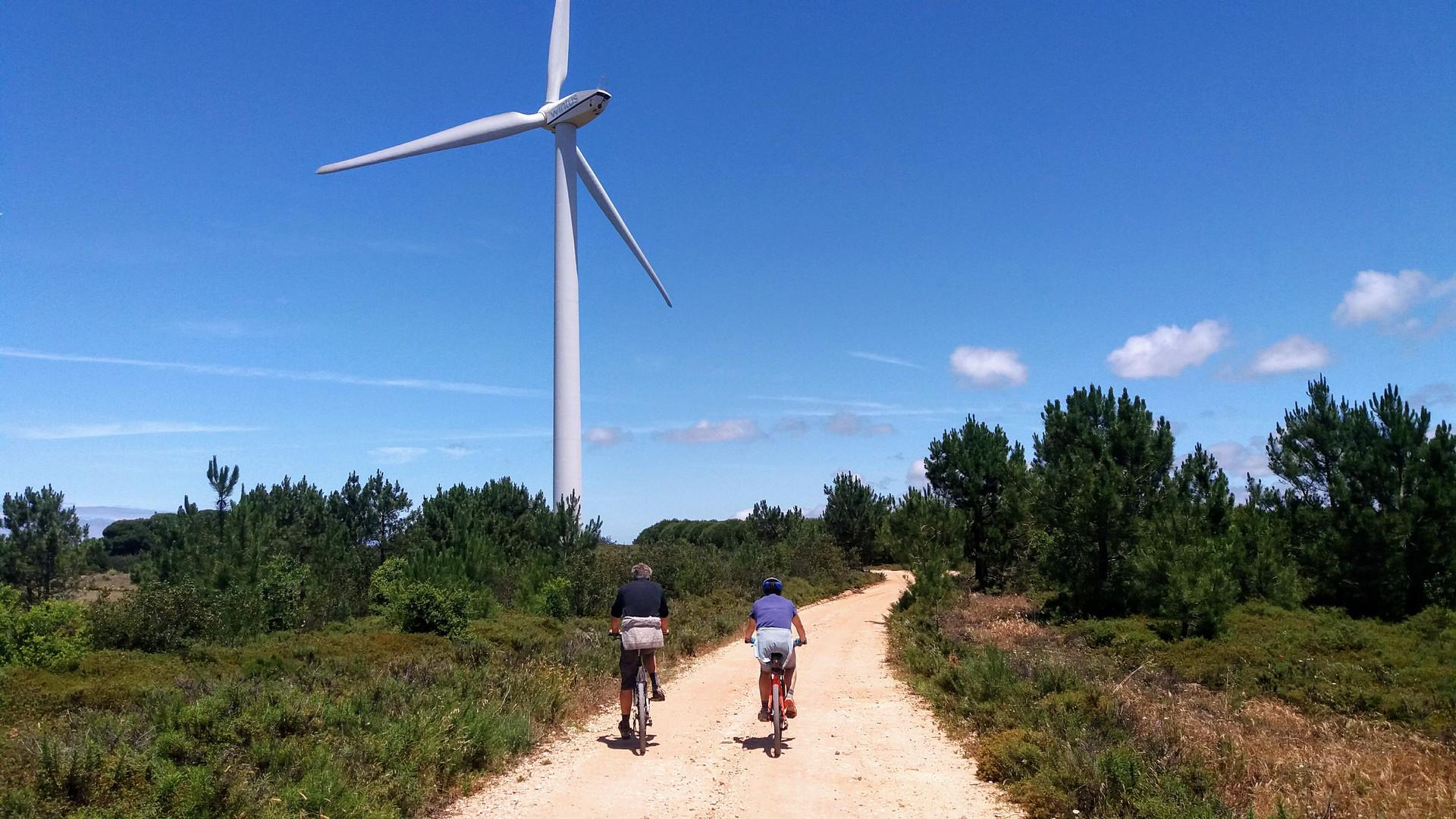Biking next to wind turbine