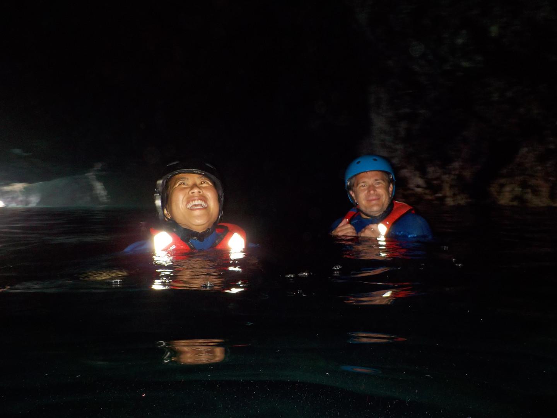 Swimming in dark big cave in western Algarve