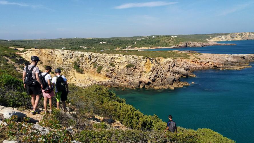 Hiking coastal path in Algarve