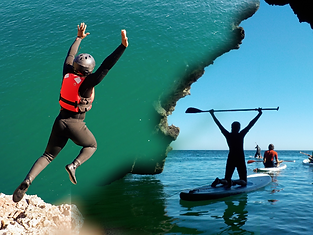 Coasteering jump and SUP in caves near Algarve