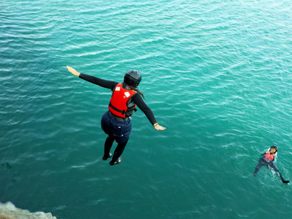Free falling is amazing off a cliff into the ocean