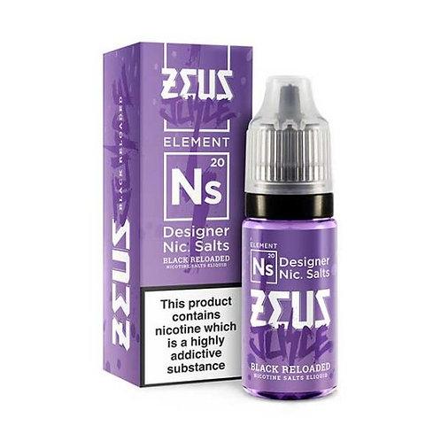 Black Reloaded Nic Salt - 10ml Zeus Juice 10/20mg
