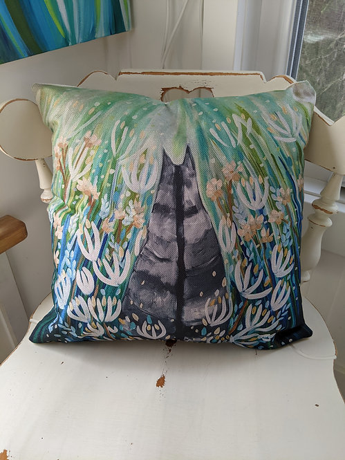 Tabby Cat in the flower meadow Cushion Cover